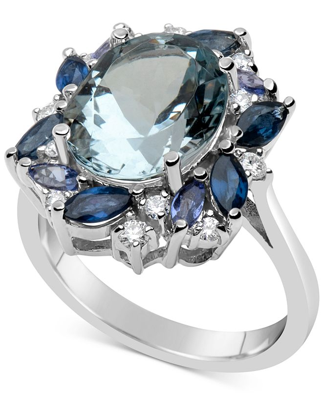 Macy's Multi-Gemstone (5-9/10 ct. t.w.) & Diamond (1/5 ct. t.w.) Ring in 14k White Gold