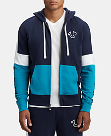 True Religion Men's Tri-Color Zip-Up Hoodie