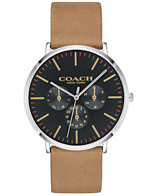 COACH Men's Varick Camel Leather Strap Watch 40mm