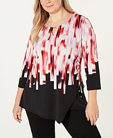 JM Collection Plus Size Printed Asymmetric 3/4-Sleeve Top, Created for Macy's