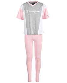 Champion Big Girls Colorblocked Logo-Print T-Shirt & Side-Script Logo Leggings