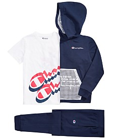 Champion Big Boys Shift Hoodie, Logo-Print T-Shirt & French Terry Jogger Pants