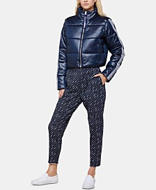 Juicy Couture Logo Snap-off Sleeve Cropped Puffer Jacket