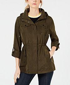 MICHAEL Michael Kors Hooded Cinch-Waist Raincoat