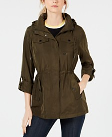 MICHAEL Michael Kors Hooded Cinch-Waist Anorak Jacket
