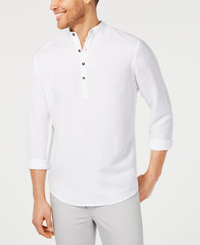 I.N.C. Men's Four-Button Linen Shirt, Created for Macy's