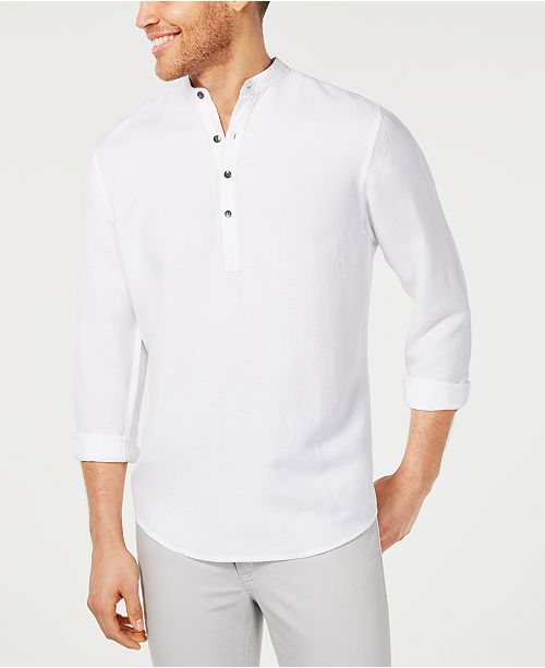 INC International Concepts I.N.C. Men's Four-Button Linen Shirt, Created for Macy's