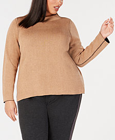 Eileen Fisher Plus Size Reversible Organic Funnel-Neck Top