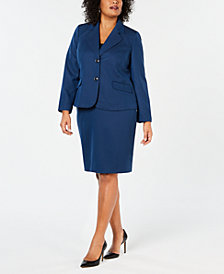 Le Suit Plus Size Two-Button Skirt Suit