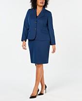 e952449bee6 Le Suit Plus Size Two-Button Skirt Suit