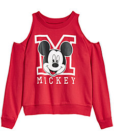 Disney Big Girls Cold Shoulder Mickey Mouse Sweatshirt