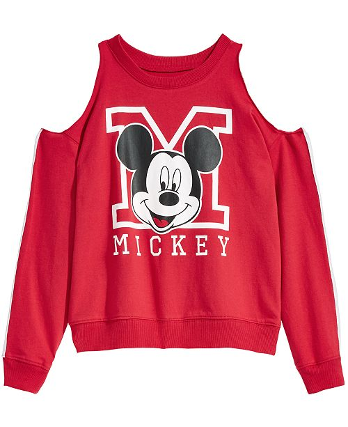 1cd648dc7afb Evy of California Disney Big Girls Cold Shoulder Mickey Mouse Sweatshirt