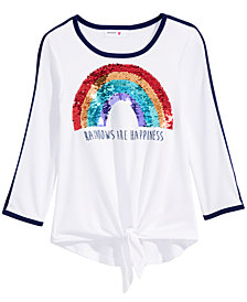 Beautees Big Girls Reversible Sequin Tie-Front Top