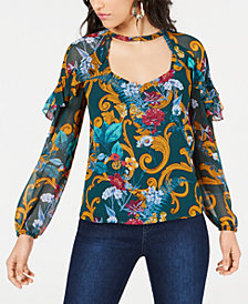GUESS Kaycee Printed Ruffled Top
