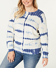 I.N.C. Plus Size Cotton Tie-Dye Sweater, Created for Macy's