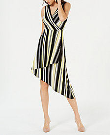 I.N.C. Sleeveless Striped Wrap Dress, Created for Macy's