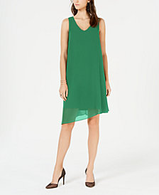 I.N.C. Petite V-Neck Asymmetrical-Hem Sheath Dress, Created for Macy's