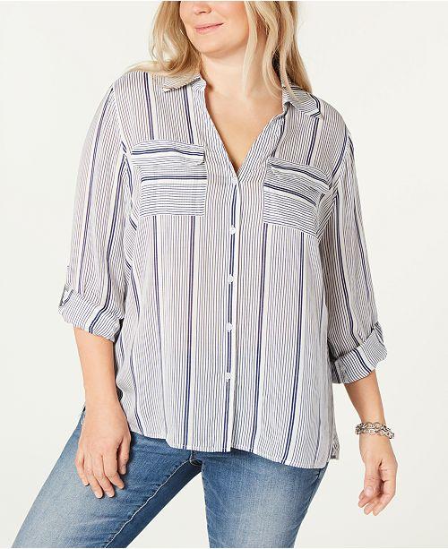 cca49cc240af1 INC International Concepts I.N.C. Plus Size Striped Button-Up Shirt ...