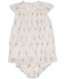 Polo Ralph Lauren Baby Girls Pleated Floral-Print Crepe Dress