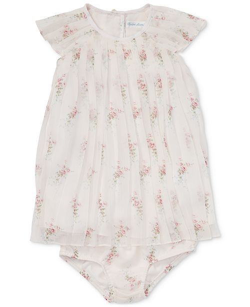 3220d4a1bfd ... Polo Ralph Lauren Baby Girls Pleated Floral-Print Crepe Dress ...