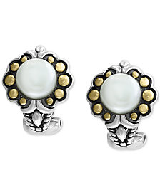 EFFY® Cultured Freshwater Pearl (7mm) Flower Stud Earrings in Sterling Silver & 18k Gold Over Silver