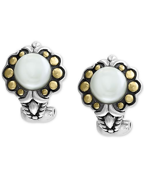 EFFY Collection EFFY® Cultured Freshwater Pearl (7mm) Flower Stud Earrings in Sterling Silver & 18k Gold Over Silver
