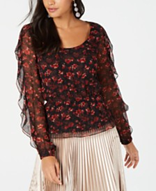 Rachel Zoe Silk Ruffle-Sleeve Top