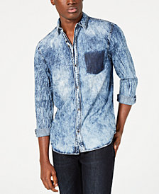 I.N.C. Men's Shadow Pocket Distressed Shirt, Created for Macy's