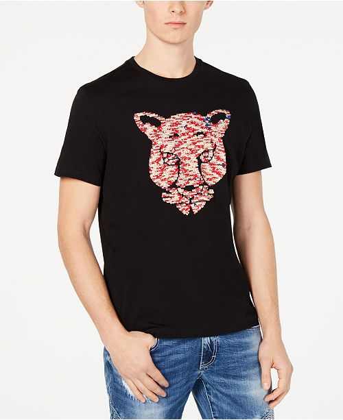 INC International Concepts I.N.C. Men's Tiger Reversible Sequin Graphic T-Shirt, Created for Macy's