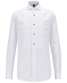 BOSS Men's Slim Fit Pleated Cotton Shirt