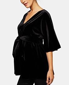 Maternity Velvet Babydoll Blouse