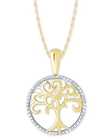 "Diamond Family Tree 18"" Pendant Necklace (1/10 ct. t.w.) in 10k Gold"