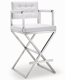 Director White Steel Counter Stool