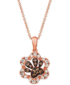 "Nude & Chocolate Diamond Paw Print 20"" Pendant Necklace (1/3 ct. t.w.) in 14k Rose Gold"