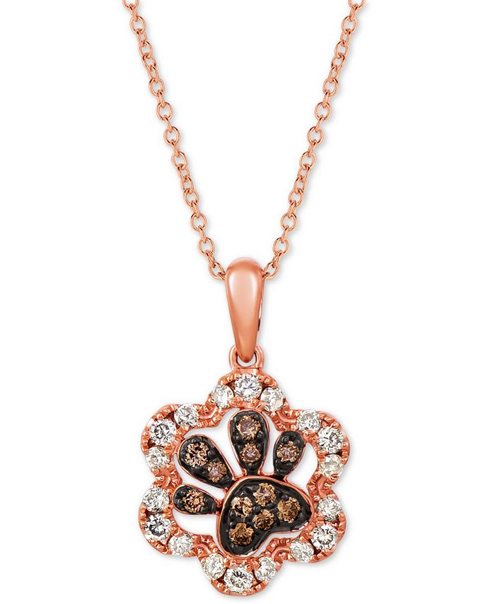 """Le Vian - Nude & Chocolate Diamond Paw Print 20"""" Pendant Necklace (1/3 ct. t.w.) in 14k Rose Gold"""