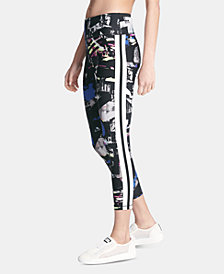 DKNY Sport Printed Varsity-Stripe Ankle Leggings, Created for Macy's