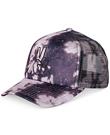 Neff Men's Peace Acid-Wash Embroidered Trucker Hat