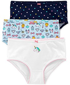 Little & Big Girls 3-Pk. Unicorns Printed Underwear