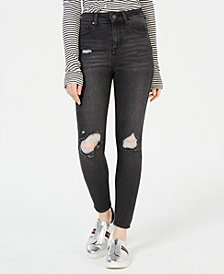 Celebrity Pink Juniors' Ripped Grey Wash Skinny Ankle Jeans