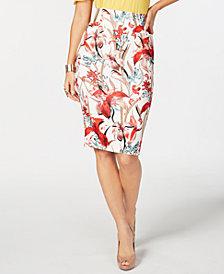 Thalia Sodi Orchid Dream Printed Scuba Skirt, Created for Macy's