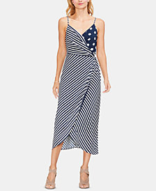 Vince Camuto Mixed-Print Wrap Dress