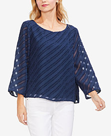 Vince Camuto Diagonal Striped Scoop-Neck Top