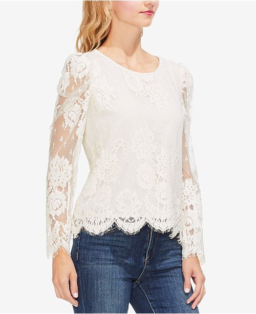 Vince Camuto Lace-Sleeve Blouse