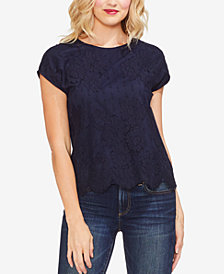 Vince Camuto Lace-Front Cap-Sleeve T-Shirt