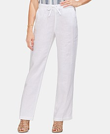 Linen Drawstring Wide-Leg Pants