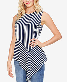 Vince Camuto Striped Asymmetrical Top