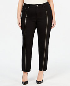 Seven7 Jeans Plus Size Zipper-Trim Straight-Leg Jeans