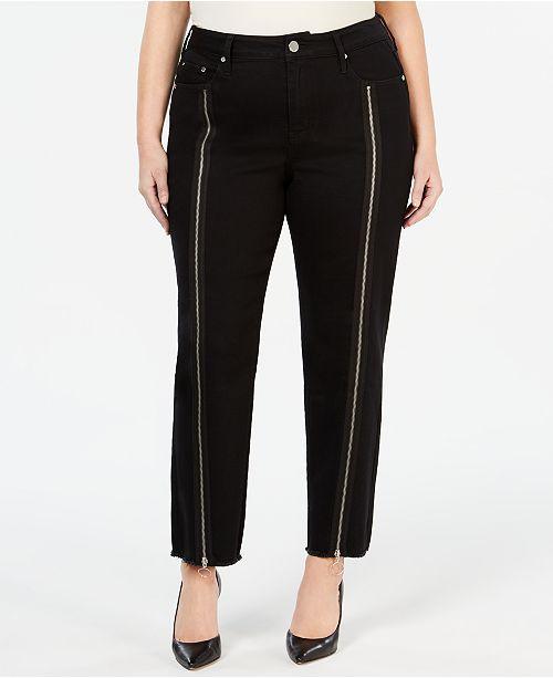 Seven7 Jeans Plus Size Zipper-Trim Straight-Leg Jeans