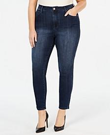 Plus Size Velvet-Stripe Skinny Jeans