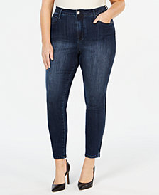 Seven7 Jeans Plus Size Velvet-Stripe Skinny Jeans